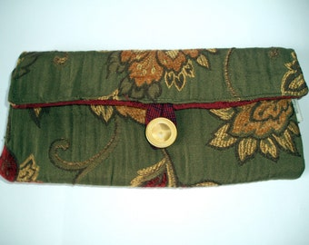 Olive Green Royal Floral  Travel Jewelry Organizer