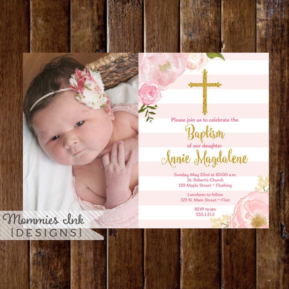 Pink and gold baptism invitation dedication invite like this item stopboris Gallery