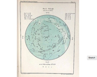 1910 ANTIQUE MARCH CELESTIAL print original antique astronomy lithograph star map of the month - constellation chart - aires pisces