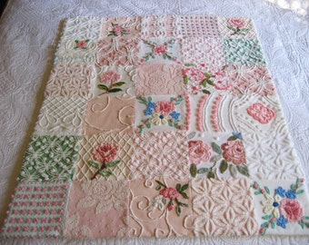"""RESERVED FOR Connie Pink Green White Vintage Chenille Baby Quilt - """" Girly Girl"""" -  Boutique quality handmade vintage chenille baby quilt"""