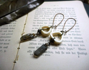 Bonfires in the Forest.  Rough Raw Stones Smoky Quartz and Deer Antler Halo Earrings. Handmade Boho Native Tribal Rustic Taxidermy.