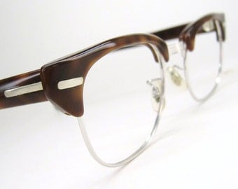 Vintage Mens Redwood Or Red Mahogany Horned Rim Eyeglasses Frames Mint Condition