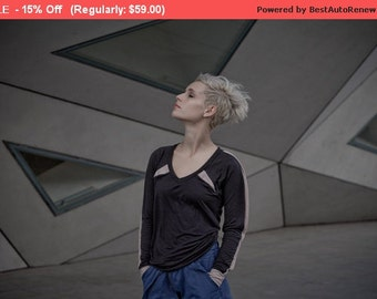 Winter Sale 15% Off!!! BLACK long sleeve t shirt with beige triangles and sleeve hem