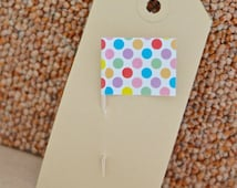 Colorful Cupcake toppings flags big Dots (20 pcs) polka dot yellow green purple blue red