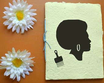 Woman Afro Vinyl Decal Journal