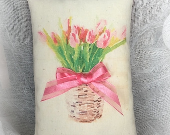 Spring Flowers - tulips mini pillow