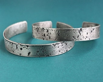 Mens Heavy Silver Cuff, Mens Silver Bracelet, Hammered Cuff Bangle
