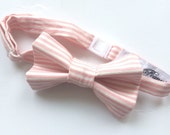 Little Guy Holiday CHRISTMAS Bow Tie - Blush Stripe (6-18 months) - Boy Toddler- (Ready to Ship) - Photo Prop