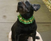 """Gold and Green Shamrocks Dog Scrunchie Collar with gold braid and button - M - 14"""" to 16"""" neck"""