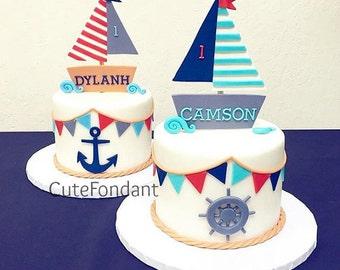 Sailboat fondant cake topper and set