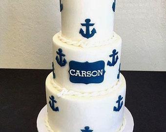 Nautical fondant cake set