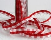 """Red & White Checked Ribbon, 3/8"""" wide, Ribbon by the yard, Christmas Ribbon, Gift Wrapping, Crafts, Home Decor, Sewing, Trim, Party Supplies"""