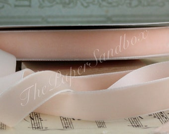 """Champagne Blush Velvet Ribbon, 3/4"""" wide by the yard, Velvet Chokers, Weddings, Gift Wrapping, Sewing, Christmas, Valentine's Day"""
