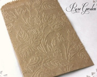 25 Rosebud Embossed Kraft Paper Bags, White Paper Bags, Wedding Favor Bags, Candy Bags, Cookie Bags, Party Supplies, Rose Petal Bags