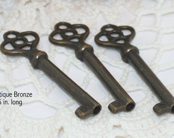 Antique Bronze Reproduction Key, Key to My Heart, Wedding Favors, Gift Wrapping, Party Supplies, Party Favors, DIY Wedding, Steampunk Keys