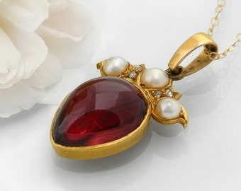 Antique Garnet Pendant | 15ct Gold Garnet, Diamonds & Pearls Victorian Pendant | Large Almandine Cabochon Wedding Pendant - 20 Inch Chain