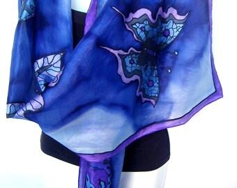 "Hand Painted Silk Scarf, Butterflies Silk Scarf, Midnight Blue Purple Black, 71"" x 18"" Silk Scarf, Gift For Her"