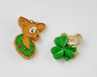 2 Hallmark Seasonal Pins or Brooches. Christmas Reindeer and St. Patrick's Day Mouse with Shamrock.