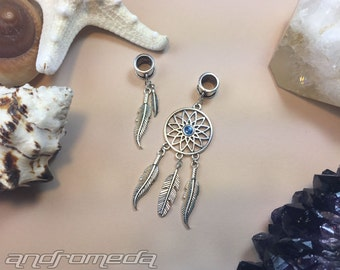 Feathers & Dream Catcher Silver Dread Bead Set (2)