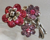 SPRING SALE Vintage Flower Bouquet Brooch. Pink, Purple Rhinestones