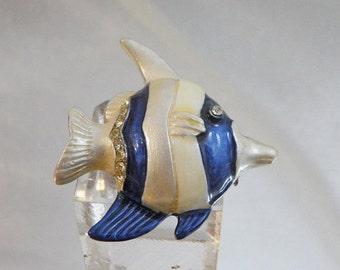 SALE Vintage Fish Brooch. Blue White Enamel. Rhinestones. Angelfish Pin.