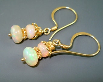 Opal Earrings, Ethiopian Fire Opals and Gold Wires, Extreme Fire Dark Opals