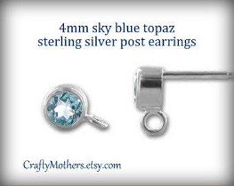 Flash Sale! REDUCED, Sky Blue TOPAZ Gemstone and Sterling Post Earrings w/ backings (4mm) - 1 Pair (2 pieces), December birthstone