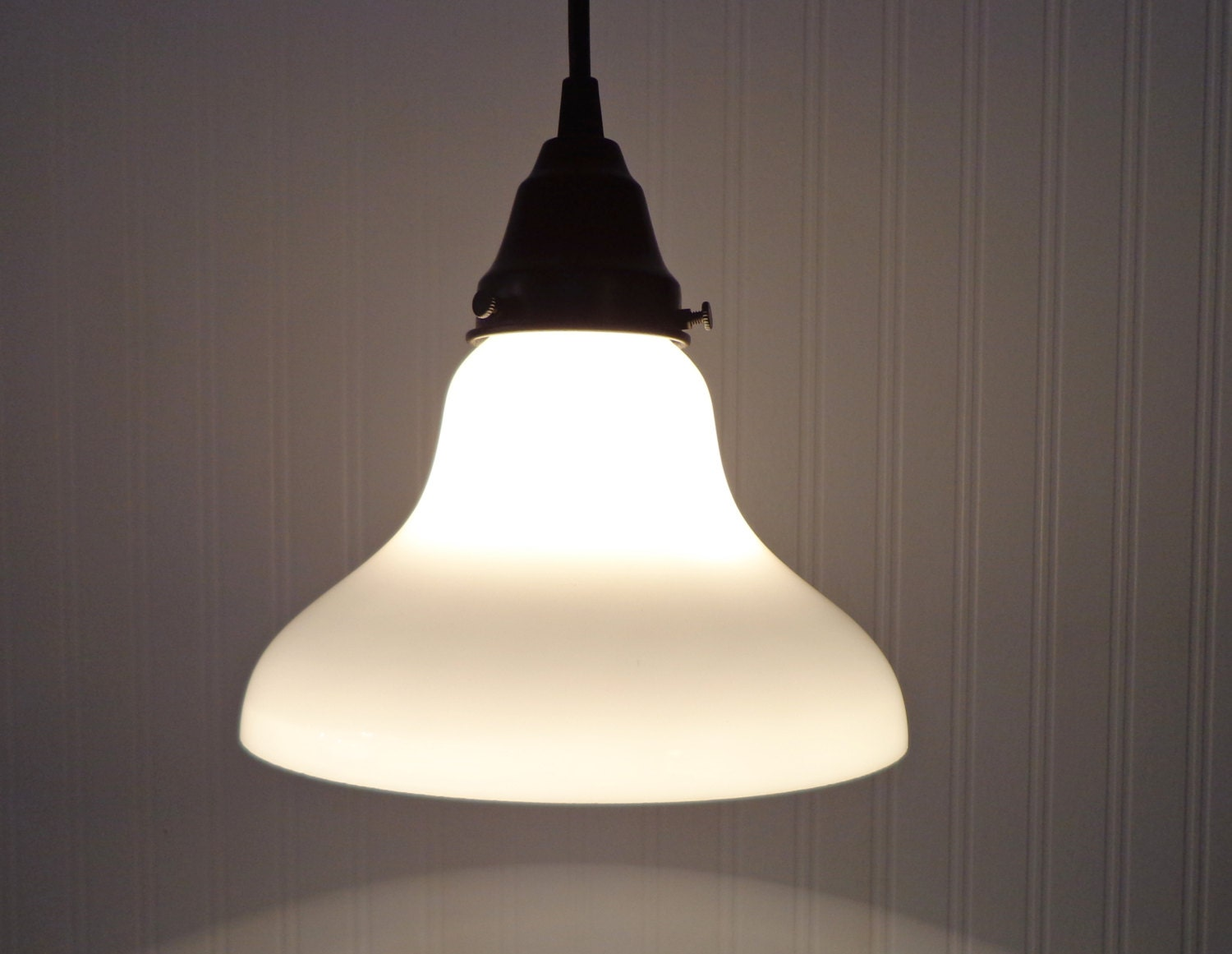 Milk Glass PENDANT Light Kitchen or Bathroom Sink