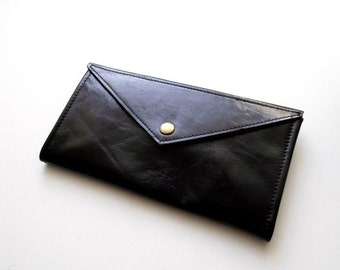 ON SALE Black envelope  wallet - leather women wallet