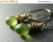 VALENTINE SALE Green Teardrop Earrings Wire Wrapped in Bronze - Elixir of Granny Apples. Handmade Earrings.