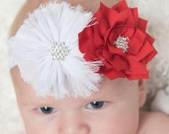 red headband, white headband, white elastic headband, red flower headband, baby headband, Christmas headband, womens headband, girl headband