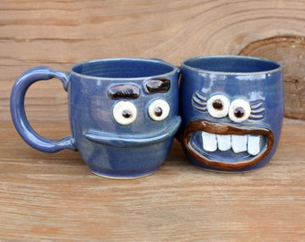 His Hers Mug Set. Pair of Mr Mrs Coffee Cups. Gifts for the Couple. Pottery Coffee Cups. Funny Face Mugs. 12 Oz