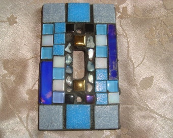 MOSAIC Light Switch Plate -  Single Switch, Shades of Blue, Wall Art