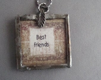 BEST FRIENDS  -  Soldered Glass Art Pendant, White Rose, One Inch Square