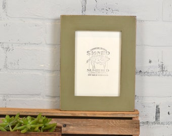 """5x7"""" Picture Frame in 1.5 Standard Style with Vintage Old Green Finish - IN STOCK - Same Day Shipping - 5 x 7 Photo Frame"""