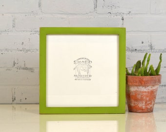 10x10 Picture Frame IN STOCK in 1x1 Flat Style with Vintage Asparagus Green Finish - Same Day Shipping - 10x10 Square Frames Solid Hardwood