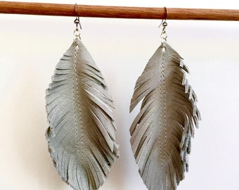 Sage green LEATHER feather earrings leather earrings feather earrings leather feather earrings with gold chain