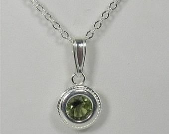 Moldavite 6mm Sterling Silver Necklace Pendant Backset Bezel
