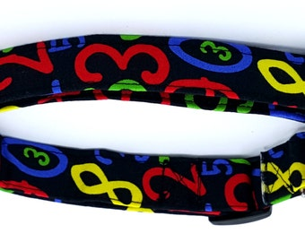 Count With Me Multi Colored Numbers on Black Math Dog Collar