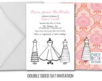 Wedding Dress Chic Bridal Shower Invite (20 printed)