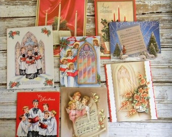 Vintage Christmad Cards, Holiday Greeting Cards, Paper Ephimemera, Scrapbooking, DIY CRafts, 1940s 1950s Christmas Cards, Lot of 30 Cards
