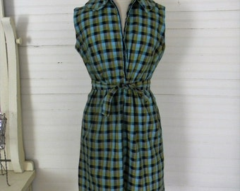Vintage Dress, Plaid Sleeveless Dress, Cotton Day Dress Size Medium/Large Green Plaid 1960s Day Dress, Shirtdress, Vintage 60s Cothing