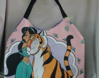 Princess Jasmine and Raja  Purse / Tote  OOAK Handmade Disney  Raja  Large