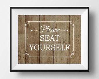 Rustic Bathroom Print, Please Seat Yourself, Funny Bathroom Sign, Rustic Bathroom Sign, Farmhouse Bathroom, Bathroom Art Print