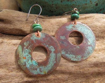 Rusty Red Earth & Blue Patina Copper Earrings Hubei Turquoise Beads