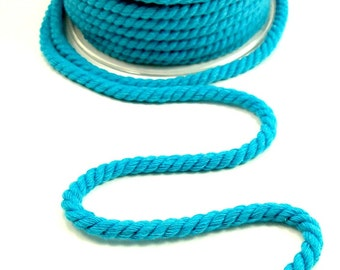 Twisted cotton cord, 6 mm, turquoise, 2 meters