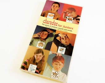 Vintage 1960s Childrens Game / Charades for Juniors Board Game 1968 / The Game of Motions, Sounds and Words