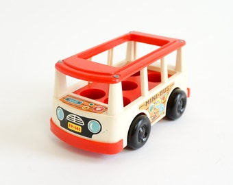 Vintage 1960s Toy / Fisher Price Mini Bus 1969 / For Fisher Price Little People, Retro Nostalgic Push Toy