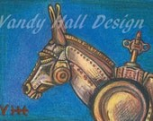 Clockwork Donkey Print by Vandy Hall, matted, numbered, signed