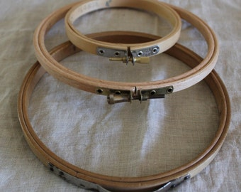 Set of Three Vintage Round Wood Wooden Embroidery Hoops
